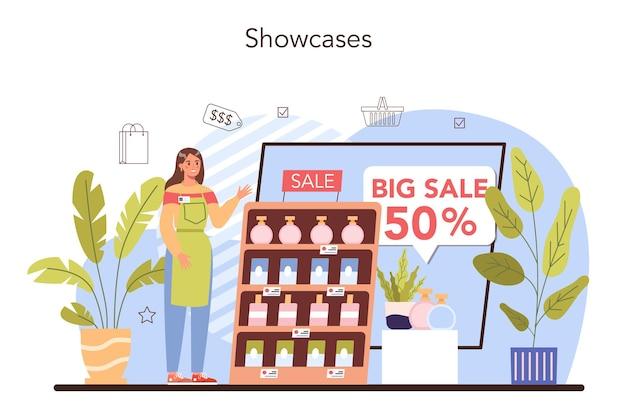Equipamento comercial. empreendedor colocando mercadorias em vitrines e instalando etiquetas de preços. processo de varejo, marketing e política de preços. ilustração vetorial plana