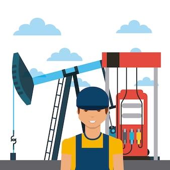 Equipamento da indústria de petróleo, bomba de gasolina e ícone dos desenhos animados do homem