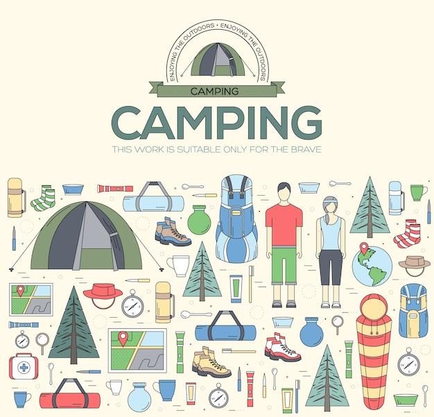 Equipamento de acampamento definir conceito de modelo de infográficos de círculo