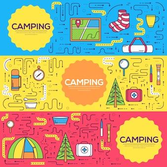 Equipamento de acampamento definir modelo de infográficos de círculo. ícones para os aplicativos móveis do seu produto.