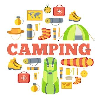 Equipamento de acampamento definir modelo de infográficos de círculo