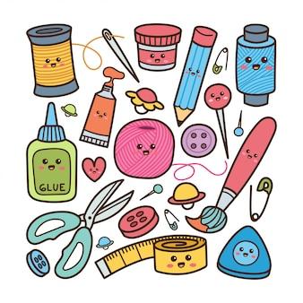 Equipamento de artesanato bonito doodle ilustração estilo