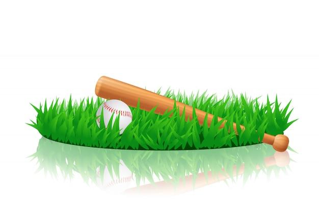 Equipamento de beisebol na grama