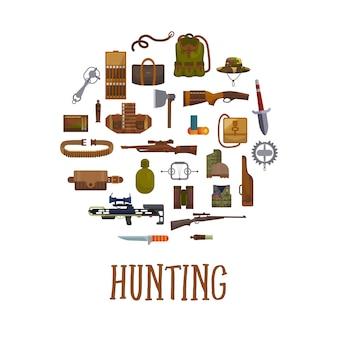 Equipamento de caça e acessórios de caçador.