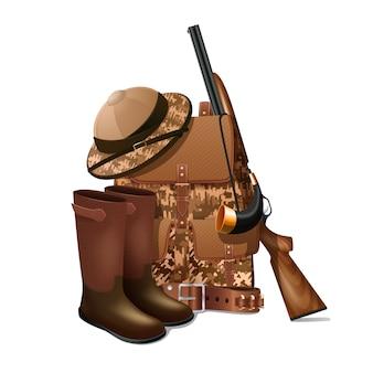 Equipamento de caça vintage e engrenagem retrô pictograma com rifle e camuflagem esportiva