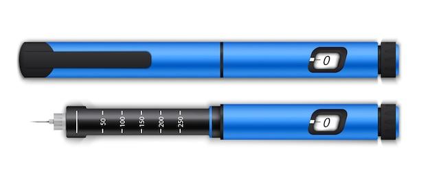 Equipamento de canetas de insulina, exame de sangue no nível de glicose.
