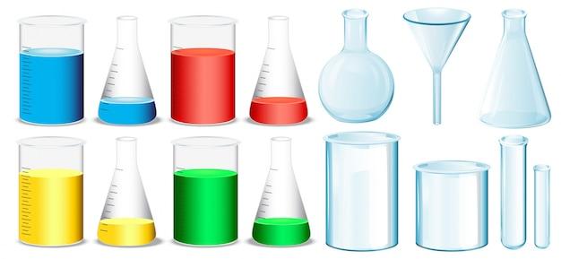 Equipamento de ciência com ilustração de taças e tubos