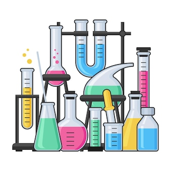 Equipamento de ciência no laboratório de química com tubo de vidro de ensaio e frasco. conceito de vetor de farmácia e química, educação e ciência.