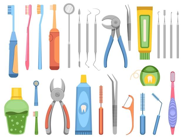 Equipamento de clínica de estomatologia plana, utensílios de dentista, escovas de dentes e enxaguatório bucal. boca e dentes, conjunto de vetores de instrumentos profissionais de higiene bucal
