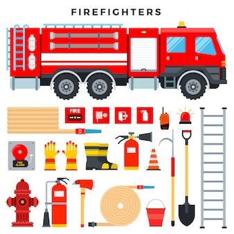 Equipamento de combate a incêndios e engrenagem, conjunto. caminhão de bombeiros, extintor de incêndio, hidrante, mangueira, escada, rádio, sinais de incêndio, etc