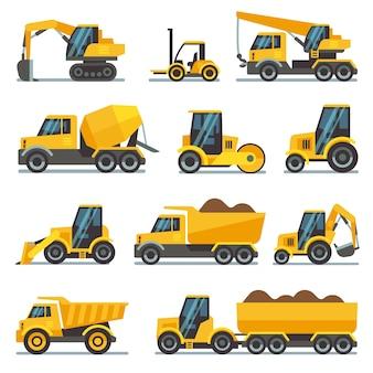 Equipamento de construção industrial e máquinas planas vetor ícones escavadeira e trator, bulldozer um