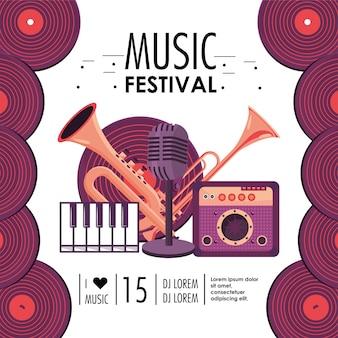 Equipamento de corneta e trompete para festival de música