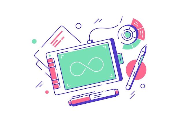 Equipamento de designer usando tablet gráfico com botão e lápis.