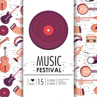 Equipamento de discoteca com instrumentos para festival de música