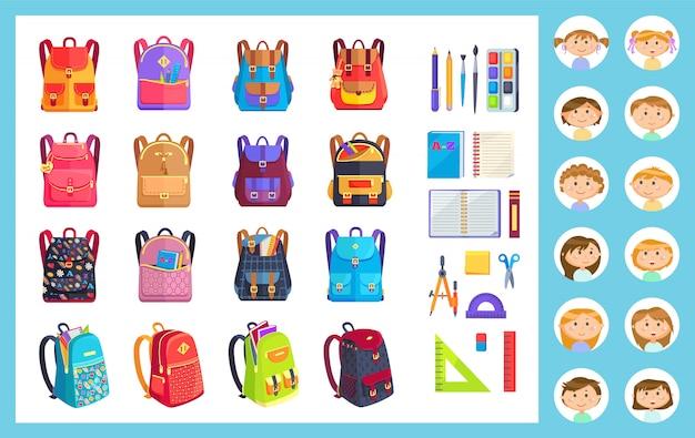 Equipamento de escritório, menina e menino e mochila