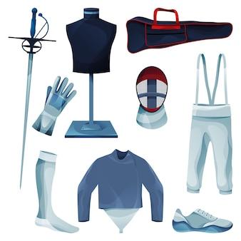 Equipamento de esgrima ou conjunto de coleta de ferramentas de jogo