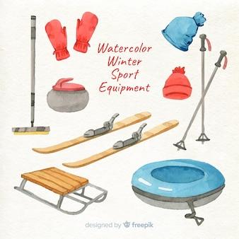 Equipamento de esporte de inverno em aquarela
