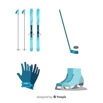 Equipamento de esporte de inverno moderno com design plano