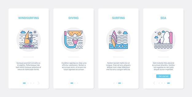 Equipamento de esportes radicais de água e símbolos ui ux conjunto de tela de página de aplicativo móvel onboarding.