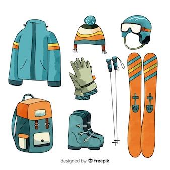 Equipamento de esqui de mão desenhada
