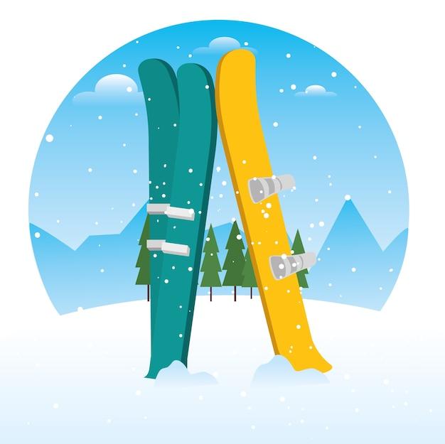 Equipamento de esqui e snowboard de esportes de inverno