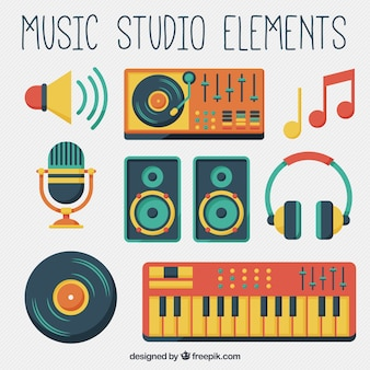 Equipamento de estúdio de música