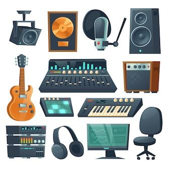 Equipamento de estúdio musical para gravação de som