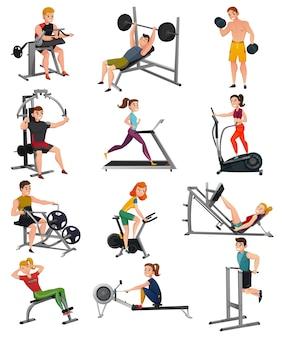 Equipamento de exercício com conjunto de pessoas