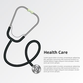 Equipamento de ferramentas médicas de estetoscópio. médico, enfermeira check-up diagnosticar a saúde no hospital