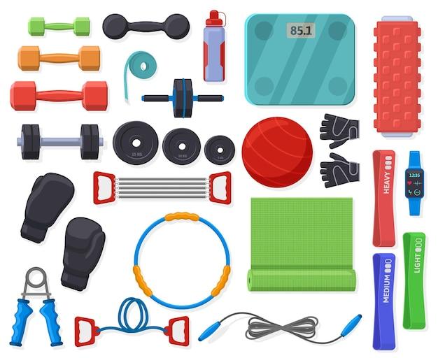Equipamento de fitness doméstico. acessórios de treinamento esportivo para casa ou ginástica, conjunto de ginástica e fitness