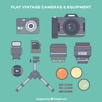 Equipamento de fotografia e acessórios em design plano