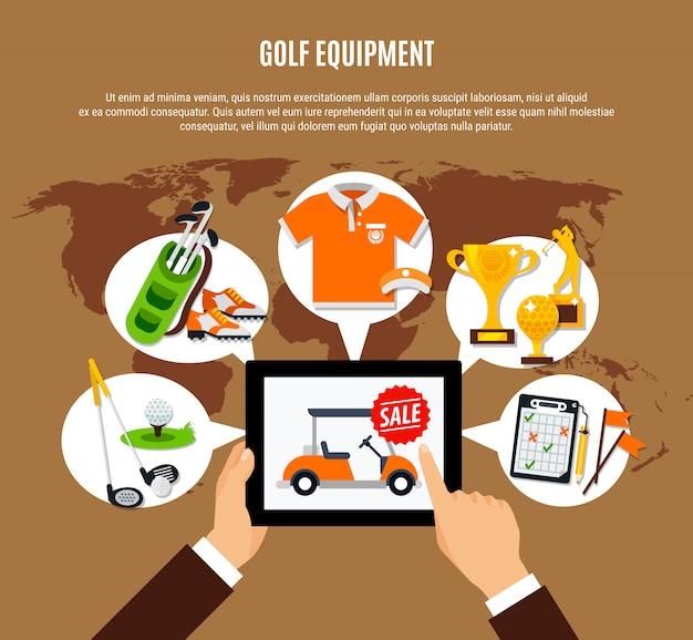 Equipamento de golfe que compra a composição em linha
