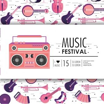 Equipamento de gravador para festival de música