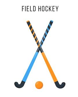Equipamento de hóquei em campo sport ball e dois sticks para jogos de esporte