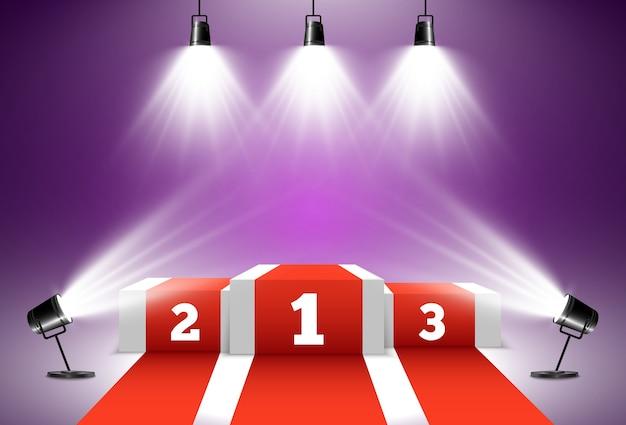 Equipamento de iluminação e pedestal ou plataforma para homenagear os vencedores dos prêmios.
