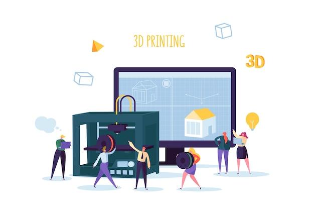 Equipamento de impressora 3d com personagens planas e computador