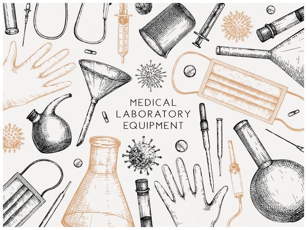 Equipamento de laboratório de teste de vírus corona. molde desenhado da mão do coronavirus. novo panfleto de pandemia. banner com equipamentos de laboratório, medicamentos, ferramentas de proteção, desenhos de vírus.