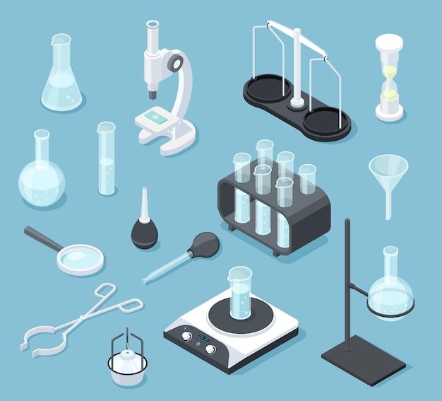 Equipamento de laboratório químico isométrico. conjunto de equipamentos de química de balão de microscópio de produtos químicos de teste de drogas de óculos de laboratório