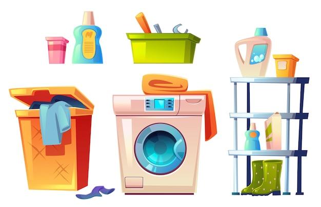 Equipamento de lavanderia, conjunto de coisas de banheiro.