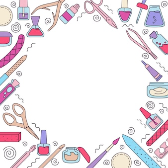 Equipamento de manicure redondo fundo, unhas de polimento de linha, esmalte, lima, pinça, creme para as mãos, tesoura, óleo, pinças. ferramentas de contorno de manicure, elementos de design, beleza e conceito de spa