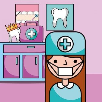 Equipamento de menina dentista na sala de consulta