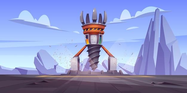 Equipamento de perfuração futurista, navio de perfuração para exploração e mineração. paisagem dos desenhos animados com plataforma e torre com trado. nave espacial futura para furo e solo de mineração