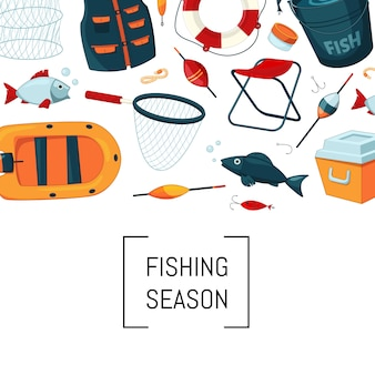 Equipamento de pesca dos desenhos animados