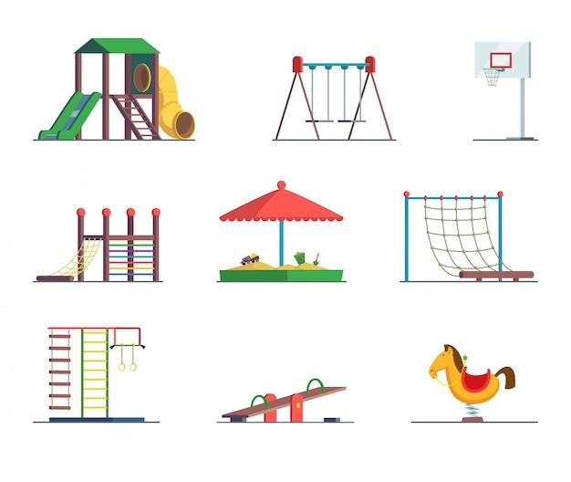 Equipamento de playground. área de diversão para as crianças.