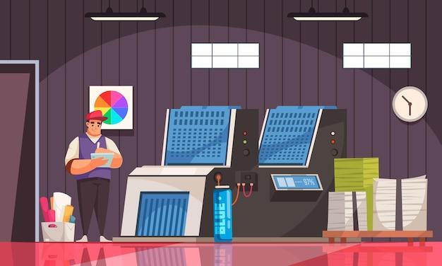 Equipamento de poligrafia, impressora, pilhas de papel impressas e trabalhador de uniforme