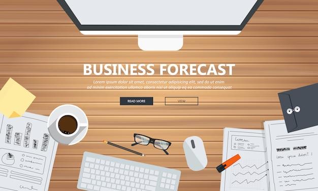 Equipamento de previsão de negócios na mesa