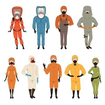 Equipamento de proteção uniforme diferente ilustrações isoladas em um fundo branco
