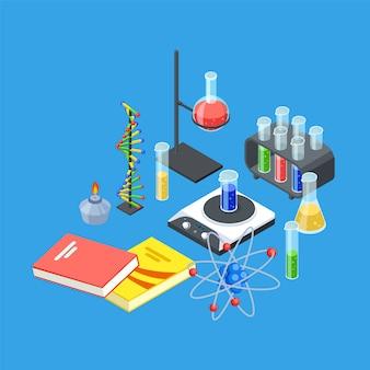 Equipamento de química isométrica.