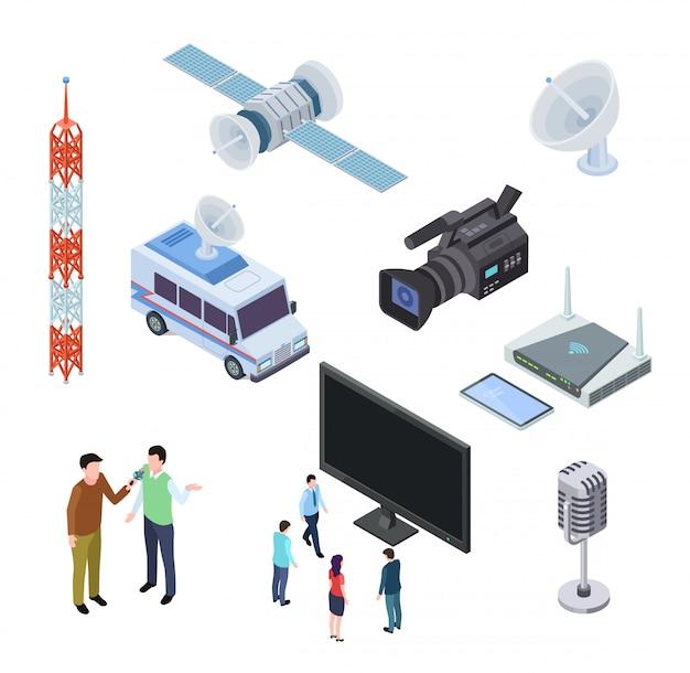 Equipamento de radiodifusão. eletrônica de fluxo de televisão. antena de tv, satélite e filmadora. ícones 3d isométricos de telecomunicações