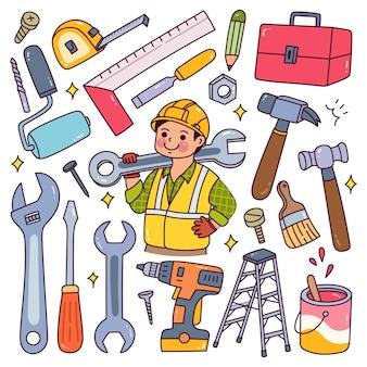 Equipamento de trabalhador da construção civil definido no estilo doodle